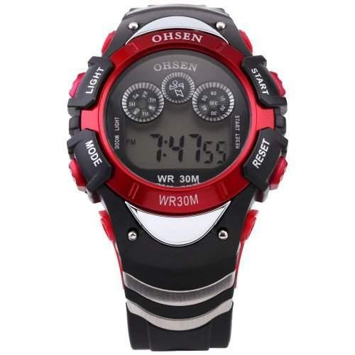 DragonPad Unisex Damen Herren Sport Uhren Armbanduhren Damenuhr Herrenuhr Sportuhr Digital Silikon Wrist Watch schwarz rot