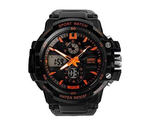 LED Armbanduhr Herrenuhr Herren Sport Uhren Analog Digital Geschink watch wasserdicht Gummi schwarz orange