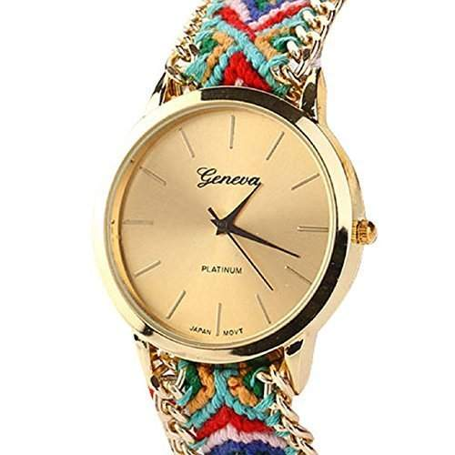 DragonPad suess Analog Damen Uhren Armbanduhr Damenuhr Quarz Geschink geflochten bunt