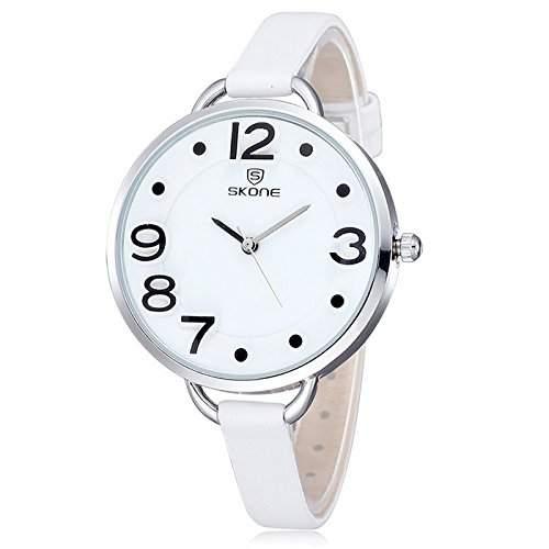 Schick Armbanduhr Damenuhr Damen Maedchen Uhr Analog Geschink PU Leder watch gift weiss