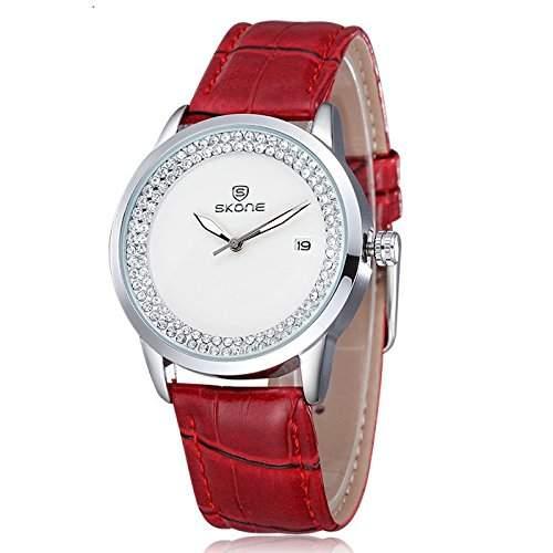 Schick Armbanduhr Damenuhr Damen Uhr Analog Geschink PU Leder watch gift rot