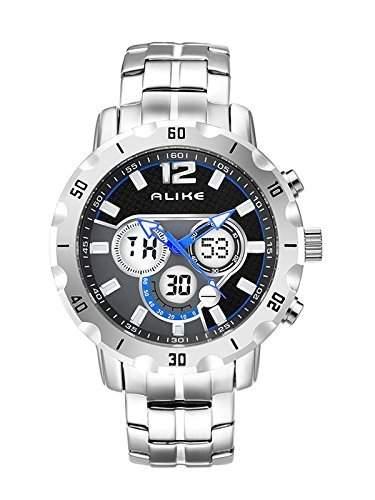 LED Armbanduhr Herrenuhr Sportuhr Herren Sport Uhren watch Geschenk Analog Digital Edelstahl mutifunktion Silber