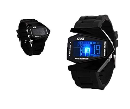 LED Digital Armbanduhr Damenuhr Herrenuhr Sportuhr Damen Herren Sport Uhren Fliegeruhr Geschink Silikon schwarz