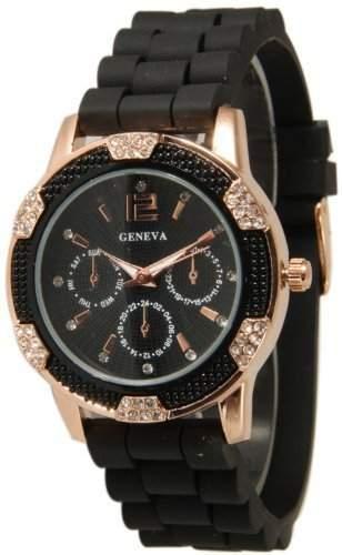 DragonPad suess Analog Damen Uhren Armbanduhr Damenuhr Quarz Geschink Gummi schwarz Strass bling