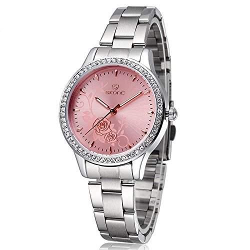 Armbanduhr Damenuhr Damen Uhr Analog Geschink Strass watch gift silber Pink