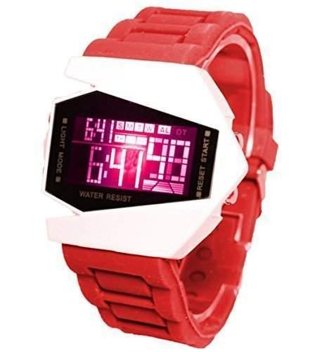 LED Digital Armbanduhr Damenuhr Herrenuhr Sportuhr Damen Herren Sport Uhren Fliegeruhr Geschink Militaer Silikon rot