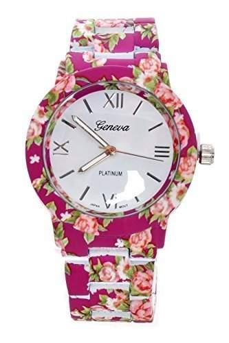 DragonPad suess Analog Damen Uhren Armbanduhr Damenuhr Quarz Geschink bunt Blumen lila