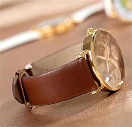 DragonPad suess Analog Damen Uhren Armbanduhr Damenuhr Quarz Geschink braun