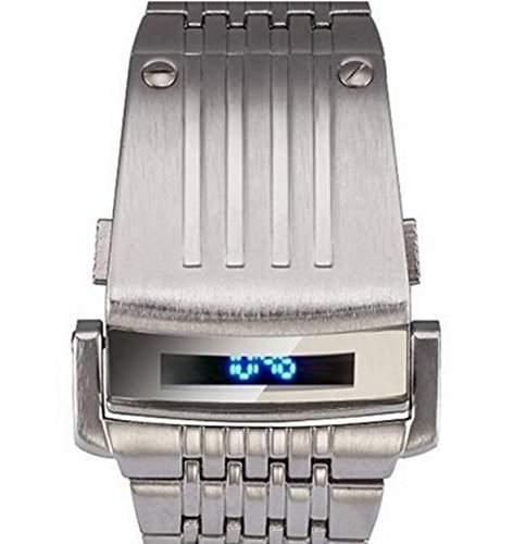 LED Armbanduhr Herrenuhr Herren Sport Uhren Digital silber Geschink Edelstahl