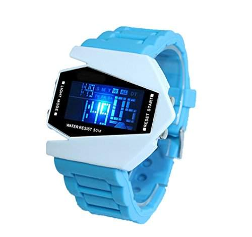 Milit?r LED Digital Unisex Sportuhr Armbanduhr Damenuhr Herrenuhr Damen Herren Sport Uhren Fliegeruhr Silikon Blau