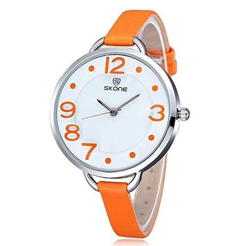Schick Armbanduhr Damenuhr Damen Maedchen Uhr Analog Geschink PU Leder watch gift Orange