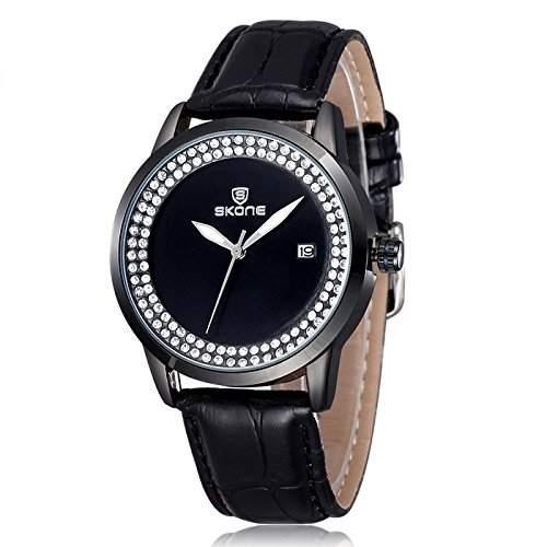 Schick Armbanduhr Damenuhr Damen Uhr Analog Geschink PU Leder watch gift Schwarz
