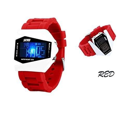 LED Digital Armbanduhr Damenuhr Herrenuhr Sportuhr Damen Herren Sport Uhren Geschink Fliegeruhr Silikon Militaer rot