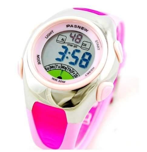 DragonPad LED Digital Damen Kinder Sport Uhren Armbanduhr Damenuhr Kinderuhr Sportuhr wasserdicht Gummi rosa