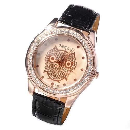 DragonPad suess Analog Damen Uhren Armbanduhr Damenuhr Quarz Geschink Strass Schwarz Eule