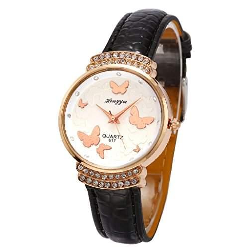 Unendlich U Elegant Schwarz PU Lederarmband Schmetterling Diamanten Analog Quarz Damen Armbanduhr