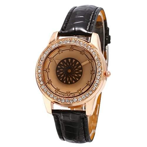 Unendlich U Damen Armbanduhr Einzigartiger Schwungrad Drehendes Zifferblatt von Sekundenzeiger Schwarz PU Lederarmband Analog Quarzuhr