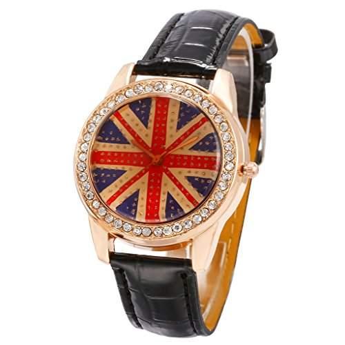 Unendlich U Klassik Grossbritannien Flagge Schwarze Armband Analog Quarz Maedchen Armbanduhren, Geburtstag Geschenk fuer Damen