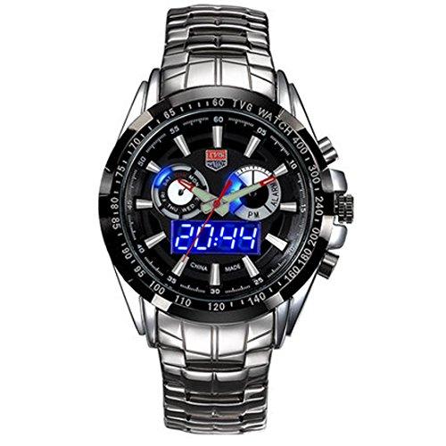 TVG Herren Luminox Linsenteleskop Wasserdicht Quarz Sportuhr 100 m LED Doppel Display Luminous watch black Zifferblatt