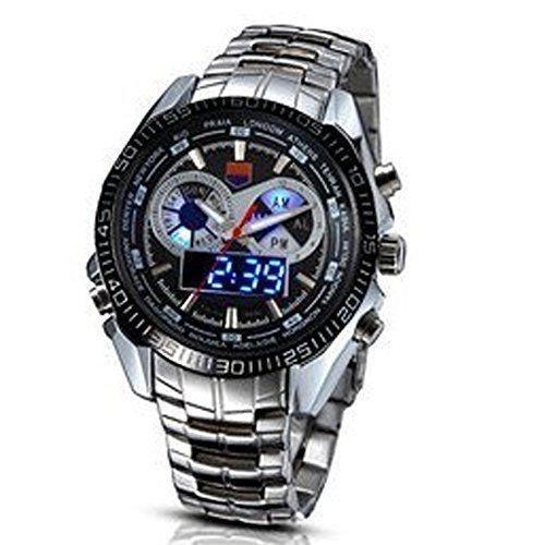 TVG Herren Multifunktions Luminox Linsenteleskop Sport Armbanduhr Wasserdicht bis 100 m Quarz LED Doppel Display Luminous Armbanduhr