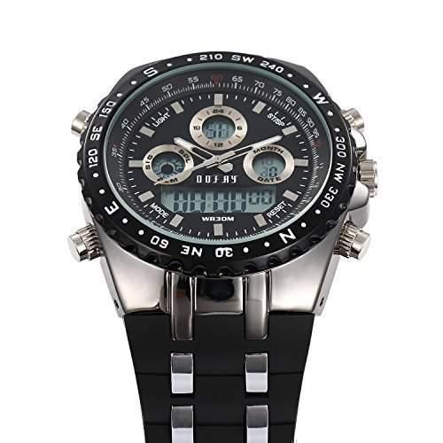 OOFAY Watch® Maenner Uhren Big Dial Multi-Funktions-Schwarz Sport Armbanduhren