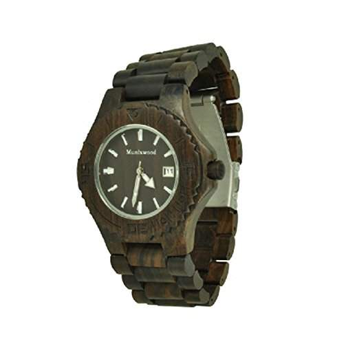 Munixwood Blacky Holz Armbanduhr Sandelholz mit Datum und Uhrenbox