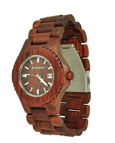 Munixwood Chocolate Holz Armbanduhr Sandelholz mit Datum und Uhrenbox