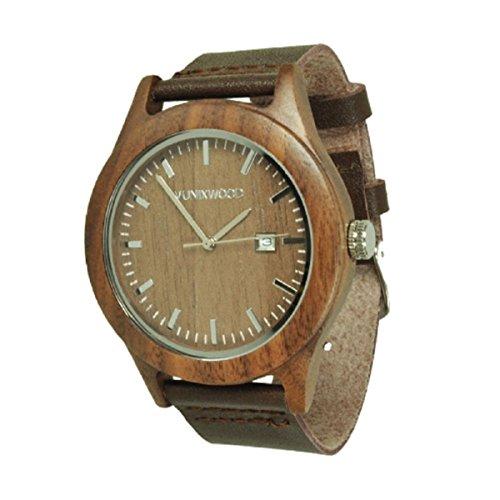 Munixwood Herren Damen Holz Armbanduhr aus Walnussholz Holzuhr Braun Silber Analog Quarz Lederarmband Datum
