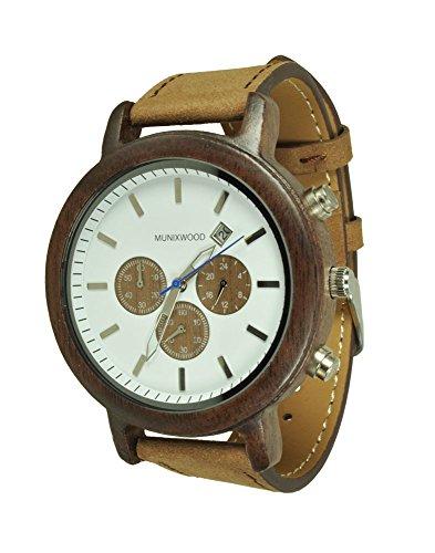 Munixwood Holzarmbanduhr Bellyn aus Walnussholz Chronograph mit Holzbox