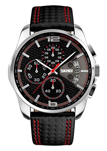 SKMEI Herren Sport Armbanduhr Leder Analog Quarz Kalender Chronograph 5ATM wasserdicht schwarz rot 9106