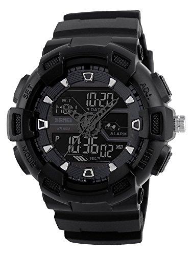 VOEONS Herren Sport Armbanduhr Weltzeit Digital Alarm Chronograph schwarz Stoppuhr