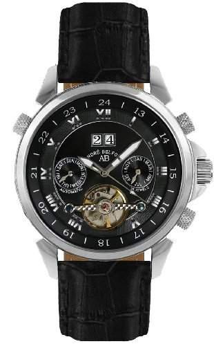 André Belfort Herren-Armbanduhr Étoile Polaire Leder Schwarz 410022