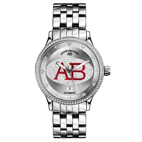 Andre Belfort Damen Armbanduhr Grand Dame Edelstahl AB 8910 silber rot