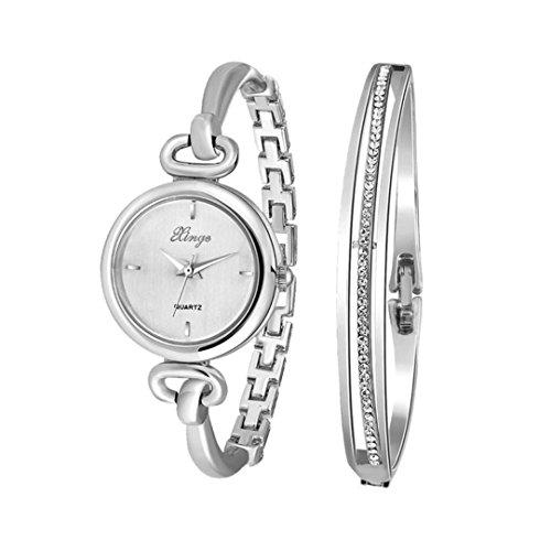 Fulltime Xinge Womens Klassische Vintage Design Armbanduhr mit Strass Armband 2 in 1 Quarz Uhr Schmuck Set 30 mm Silber Zifferblatt Armband Durchmesser 56mm Kleingeschenkpaket Modell 590S
