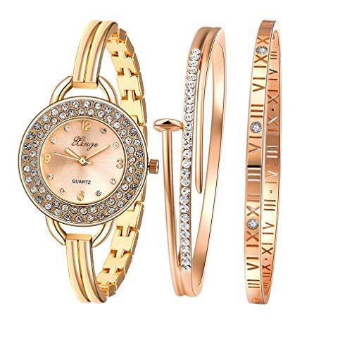 Fulltime Xinge Womens Luxus Strass Design Armbanduhr mit 2 Strass Armbaender 3 in 1 Quarz Uhr Schmuck Set 30mm Rose Gold Zifferblatt Armband Durchmesser 55 57mm Kleingeschenkpaket Modell 409R