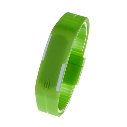 Fulltime Herren LED Digital Display Armband Armbanduhr Tag Datum Silikon Band Super Slim Sport Uhr wasserfest Rote LED Licht 220mm Armband Gruen
