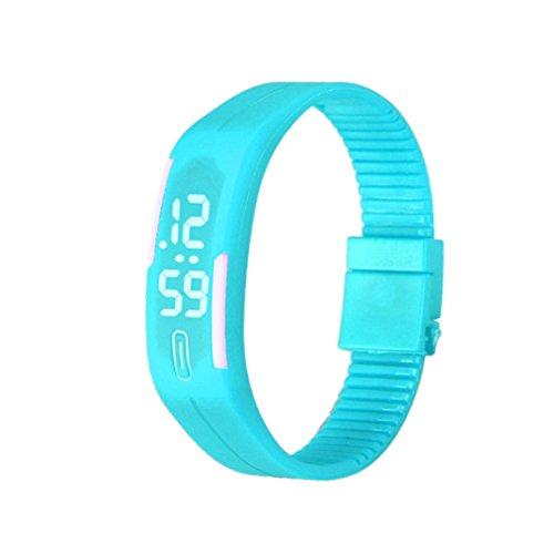 Fulltime Herren LED Digital Display Armband Armbanduhr Tag Datum Silikon Band Super Slim Sport Uhr wasserfest weisse LED Licht 220mm Armband Himmelblau