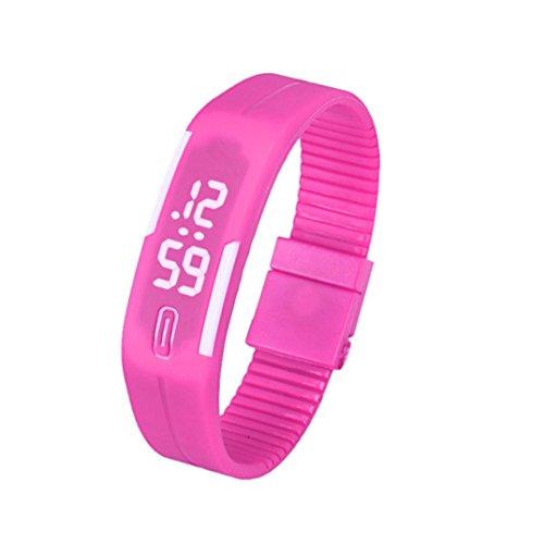 Fulltime Herren LED Digital Display Armband Armbanduhr Tag Datum Silikon Band Super Slim Sport Uhr wasserfest weisse LED Licht 220mm Armband Rosarot