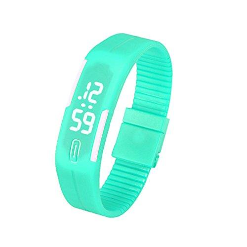 Fulltime Herren LED Digital Display Armband Armbanduhr Tag Datum Silikon Band Super Slim Sport Uhr wasserfest weisse LED Licht 220mm Armband Minzgruen