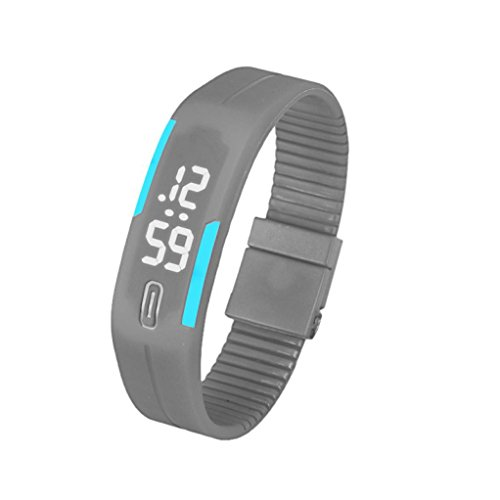 Fulltime Herren LED Digital Display Armband Armbanduhr Tag Datum Silikon Band Super Slim Sport Uhr wasserfest weisse LED Licht 220mm Armband Grau