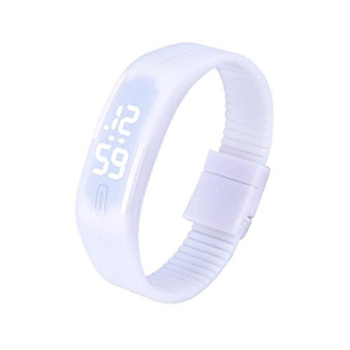 Fulltime Herren LED Digital Display Armband Armbanduhr Tag Datum Silikon Band Super Slim Sport Uhr wasserfest weisse LED Licht 220mm Armband Weiss