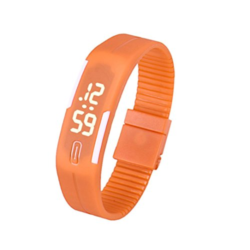 Fulltime Herren LED Digital Display Armband Armbanduhr Tag Datum Silikon Band Super Slim Sport Uhr wasserfest weisse LED Licht 220mm Armband Orange