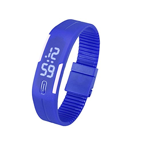 Fulltime Herren LED Digital Display Armband Armbanduhr Tag Datum Silikon Band Super Slim Sport Uhr wasserfest weisse LED Licht 220mm Armband Blau