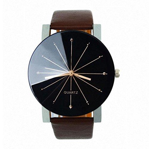 Fulltime Herren Quarzuhr 40mm Dial Armbanduhr PU Lederband Runde Sache Braun Uhrenarmband