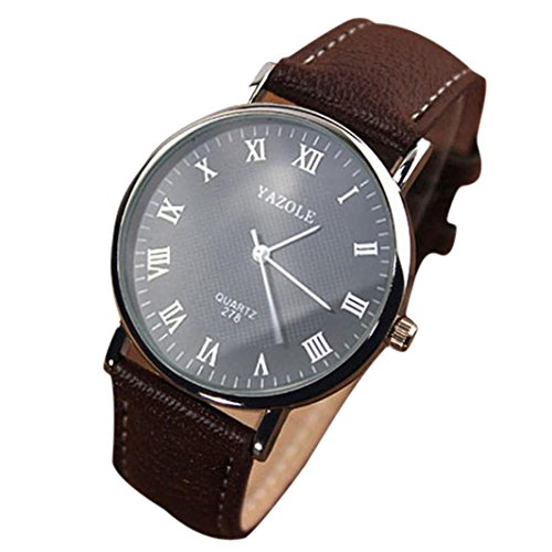 Fulltime Luxusmode PU Leder Maenner Glass Schwarzes Zifferblatt Quartz Analog Uhren Geschaefts Armbanduhr mit braunem Band