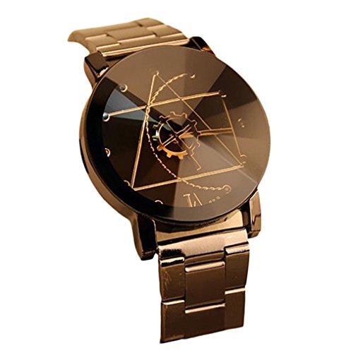 Ularmo Damen Edelstahl Quarz analoge Uhr Schwarz