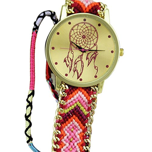 Ularmo Frauen Catcher Freundschaft Braid Armband Uhren Pink Rosa