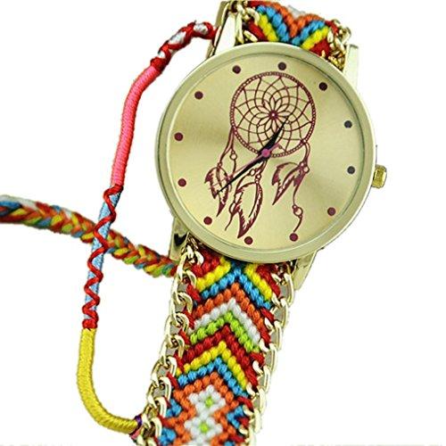 Ularmo Frauen Catcher Freundschaft Braid Armband Uhren Pink Blau