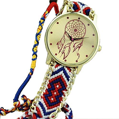 Ularmo Frauen Catcher Freundschaft Braid Armband Uhren Blau Rot
