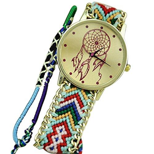 Ularmo Frauen Catcher Freundschaft Braid Armband Uhren Gruen Schwarz